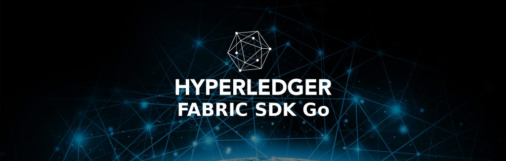 Hyeperledger Fabric SDK Go logo with a space background